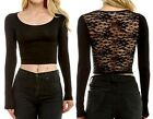 LACE Sheer BACK Ballerina SOLID Stretch Long SLV Crop TOP Cropped Tee Shirt Top