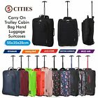 "Lightweight Small 21"" Wheeled Hand Luggage Trolley Cabin Flight Zip Bag Suitcase"