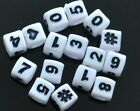 100pcs cube white, black number & heart, # beads 6mm, 7mm