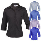 Ladies Womens Plus Size Blouse Shirt Top 3/4 Length Sleeve Work Office Formal