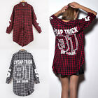 Women Long Printing Stlye Shirt Boyfriend Tops Plaid Long Sleeve Loose Blouse 02