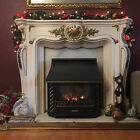 Pre Lit Fireplace Christmas Garland Gold Poinsettia Holly 6ft 40 Led Lights