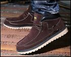 Mens Casual Stylish Lace up Round Toe Fur Lined Thicken Warm Ankle Riding Boots