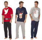 CARGO BAY Mens Novelty Christmas Xmas Pyjama Set Soft Jersey PJ Top Bottoms New