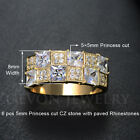 Size 5.5-9 Gold Filled Princess Cut Cubic Zirconia Promise Ring Wedding Band