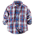 Carter's Boys Red/Blue Plaid Short Sleeve Button Down Shirt - Toddler