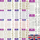 CRAFT STICKERS BOLD LETTERS NUMBERS GOLD SILVER CARD DECORATION Adhesive backed