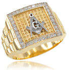 New 14k Gold Watchband Design Men's Masonic CZ Ring