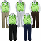 4pc Boy Suit Set Lime Green Necktie Vest Baby Toddler Kid Formal Pants S-7