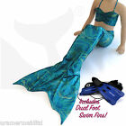 UK MADE SEA GREEN CUTE LITTLE MERMAID TAIL AGE 3-4 YEARS INCLUDES TOP & FINS