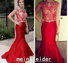 Red Mermaid Evening Party Gowns Shiny Crystals Beads Plus Size Prom Formal Dress