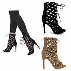 Womens Ladies New Stiletto Heel Shoes Diamond Caged Detail Lace Up Ankle size