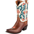 Lucchese M4920 Womens Tan Leather Flower Stitch Western Cowboy Boots
