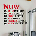 Now Is Your Time Gym Wall Decal Quote Sports Motivation Health Fitness Crossfit