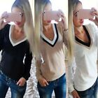 2015 Fashion Women's Sexy V-neck Pullover Jumper Blouse T-shirt  Hoodie Sweaters