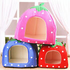 Cute Pet Dog Soft Strawberry Cat Bed House Kennel Doggy Warm Cushion Basket Pad