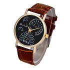 Fashion Mens Watches Leather Band Analog Quartz Business Wrist Watch from China image