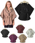 LADIES WOMENS FAUX FUR COLLAR KIMINO BATWING SLEEVE BELTED CAPE PONCHO WARM COAT