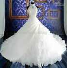 2016 Vintage White/Ivory Halter Bridal Gown,Ball Gown Wedding Dress Size:2-28