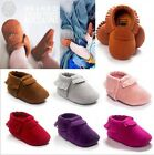 Suede Leather Cute Baby Girls Boys Toddler Infant Tassel Moccasins Shoes 0-24M