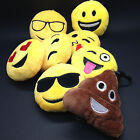 EMOJI EMOTICON KEY CHAIN KEY RING YELLOW ROUND STUFFED PLUSH