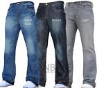 BNWT JEANBASE NEW MENS BOOTCUT FLARED WIDE LEG DENIM JEANS ALL WAIST & SIZES B1