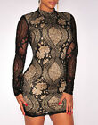 Womens Mock Neck Lace Dress Spandex Turtle Long Sleeve Cocktail Party New Mini