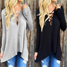 Sexy Women Cross Lace-up Long Sleeve Tee Tops Blouse Open Front Hoodie T Shirt