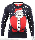 Mens Christmas Jumper Xmas Knitted SANTA 3D Novelty Sweater Size S M L XL Red