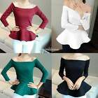 Vogue Womens Sexy Off Shoulder Round Neck T-Shirt Long Sleeve Slim Fit Tops SH