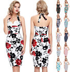 NEW CHEAP FLORAL 50S ROCKABILLY RETRO VINTAGE HOUSEWIFE PENCIL WIGGLE DRESS 4-18