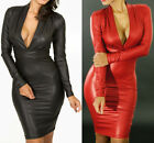 Long-sleeve Club Faux PU Plunging V-neck Cocktail Leather Dress Sexy Women Black