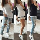 Womens Loose Pullover T Shirt Ladies Long Sleeve Cotton Tops Shirt Blouse LXJ
