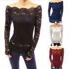Sexy Women Off Shoulder Lace Crochet Top Shirt Slim Casual Blouse Tops Chic Fine