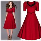 Women's Vintage 1950s 60s Cocktail Party Casual Home WorkwearWiggle Swing Dress
