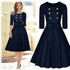 Womens Cocktail Evening Party Casual Business Work Belt A-line Knee Swing Dress