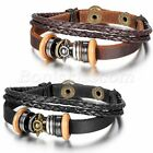 Men Women Tribal Sun Beaded Leather Braided Strap Bracelet Wristband Cuff Bangle image