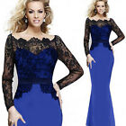 Sexy Women's Elegant Lace Long Sleeve Bandage Fishtail Evening Party Gown Dress