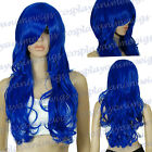 Dark Blue 0.7m Volume Soft Wavy Curly Long Cosplay Wigs 78 /512