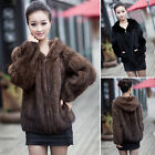 Real Knitted Farm Mink Fur Jacket Coat Outwear Hoody Zip Decorous Overcoat Parka