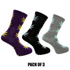 Weed Socks Marijuana Cannabis Leafs Leaves Unisex Adult fit 6-12 D10 Pack Of 3