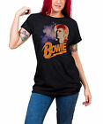 David Bowie Retro Bowie ziggy new Official Womens Skinny Fit Black T Shirt