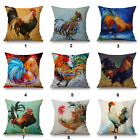 "Painting Rooster Pattern 18""x45cm Decor Cotton Linen Cushion cover Pillowcase"