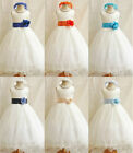 Ivory royal turquoise blue orange flower girl dress size 18mo 24mo 2 4 6 8 10 12