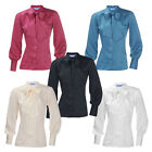 ENSEMBLE Ladies New Long Sleeve Pussy Bow Blouse Shirt Work Office Smart Button