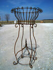 """40"""" Rustic Wrought Iron w/ Finial Plant Stand Metal Planters Garden Plant Stand"""