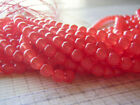 Milky Strawberry Red Beads Round Druk Smooth Czech Glass 6 and 8 mm 20 Beads
