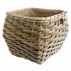 Square Grey Shaped Lined Rattan Wicker Log Basket - Choice of 2 Sizes