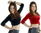 SML VELVET Solid Color Round Neck Crop 3/4 SLEEVE TOP Cropped Slim Shirt Blouse