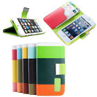 Hybrid Leather Card Holder Flip Wallet Stand Case Cover for Apple iPhone 4 5 5C